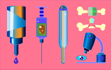Image of several medical objects. Among them there is a glass syringe, a container with a drop, a thermometer, a microscope with an eye and bones.
