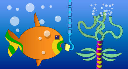 The image consists of several underwater objects. Among them there is a multi-colored fish, a chain, a hook with a bait, a hydra and bubbles.