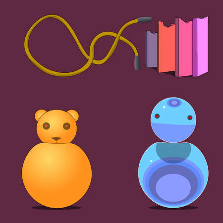 The image consists of several objects. Among them there are laces, vertically standing tiles with cut edges and round things with the head of a bear and a robot.