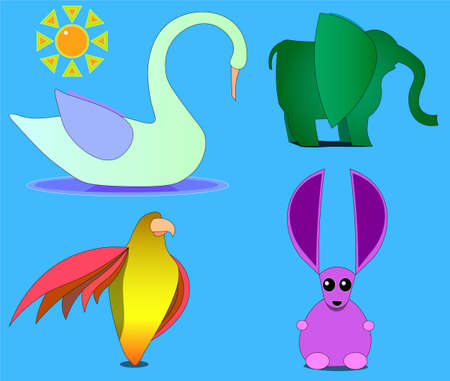 An image of several beasts and sun. Among the living beings there is a swan, an elephant, an eagle and an animal with large ears.