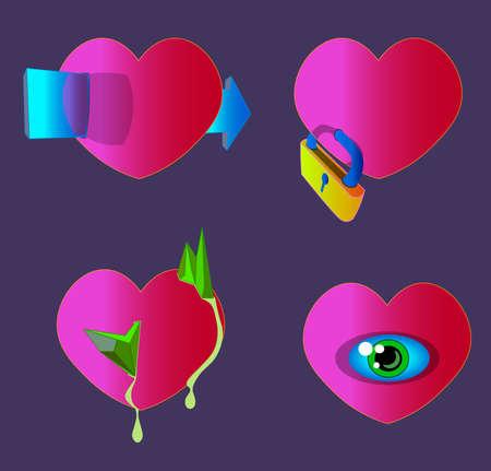 Four hearts with an arrow, a lock, sharp stones, green liquid and an eye.