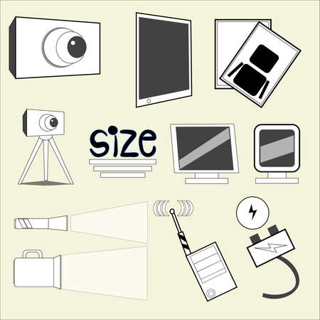 A set of different objects in black and white style.