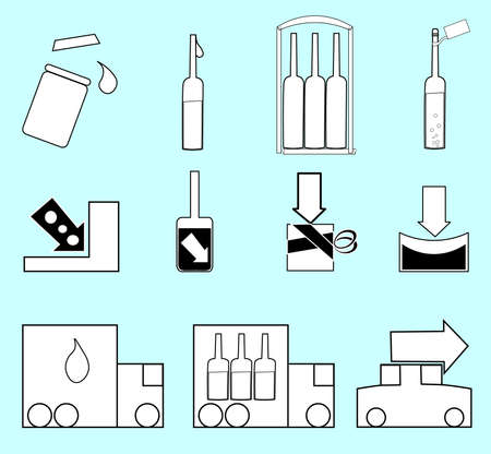 The image consists of a set of objects on a blue background. Illustration