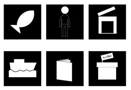 An image of several objects inside black squares. Ilustração