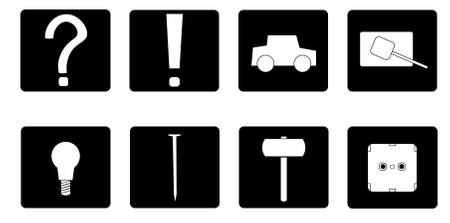 An image of several objects inside black shapes. Ilustração