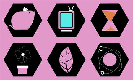 Image of several objects inside black shapes. Behind them is a purple background.