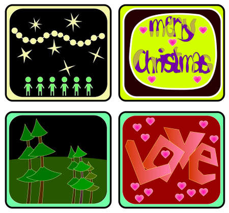 The image of several objects with love and christmas theme. Vector illustration. Ilustração