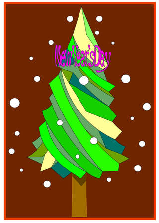 An image of a holiday card with a tree and the words.