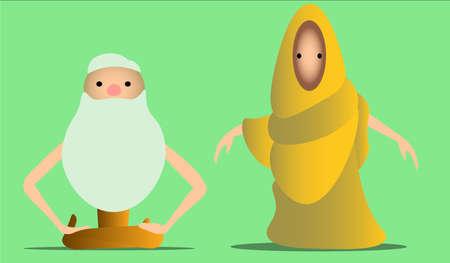 座っている男と僧侶のイメージ。