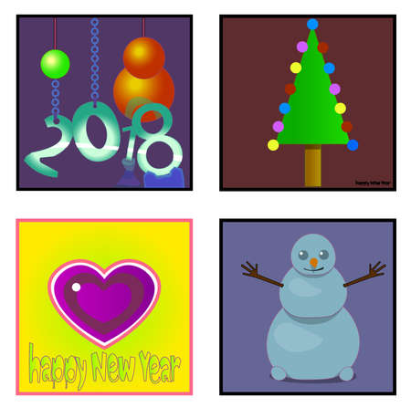 Image of several objects. Among them there is a number, a snowman, a figure of a Christmas tree, words and a heart.