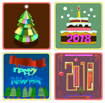The image consists of several objects. Among them there is an image in the form of a New Year tree, a cake with a burning candle, and a number. Illustration