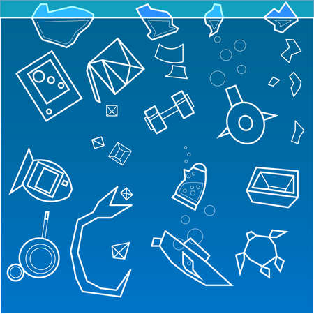A set of many objects. Among them there are circles, rectangles, the image of a fish, a boat, a dumbbell and a kettle. Illustration