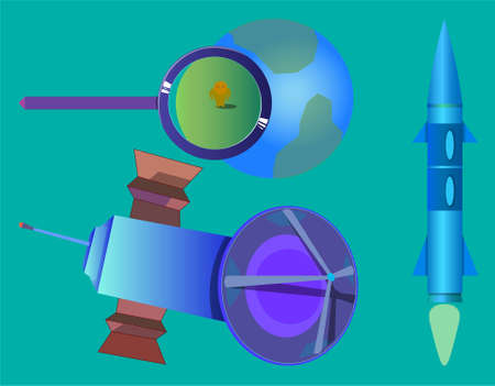 Image of several objects. Among them there is a planet, a magnifying glass, a rocket and a space satellite. Illustration
