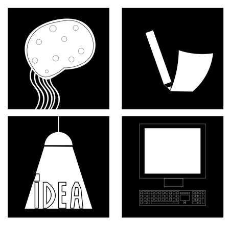 Image of several objects. Among them there is a computer, a keyboard and a word.