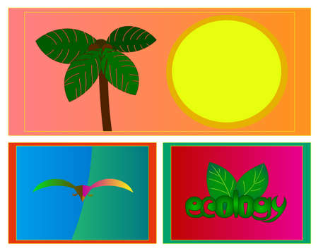 Image of several objects. Among them there is a palm tree, a sun, a bird, a word and leaves.