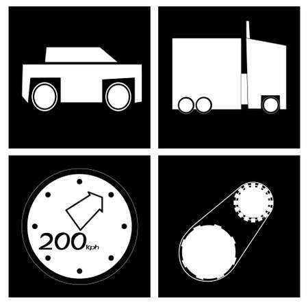 An image of several objects inside black squares. Among them there is a car, a speedometer, a figure of two hundred and gears.