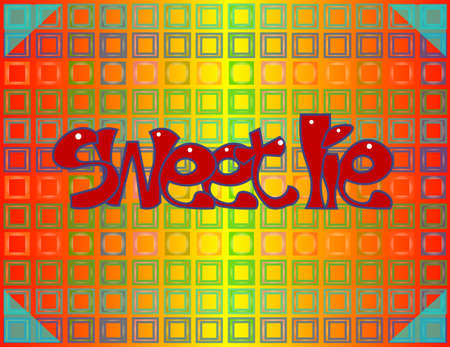 The image consists of many objects. Among them there are square frames, triangles and the words sweet lie.
