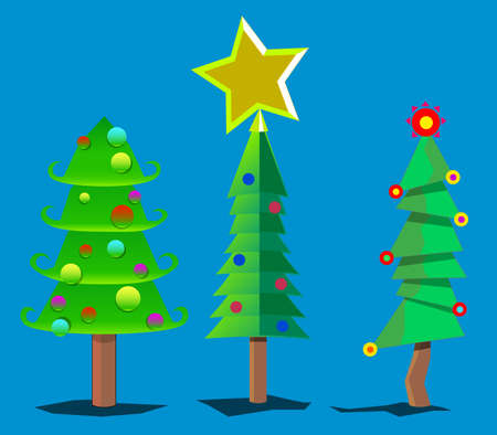 The image consists of several objects. Among them there are trees and a star. Illustration