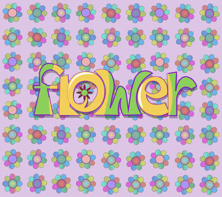 The image of a set of objects. Among them there is the word flower.