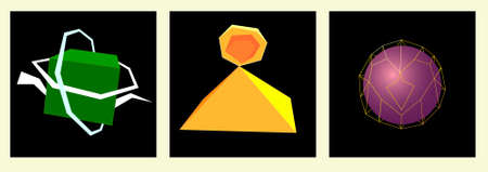 Image of several objects. Among them there is a pyramid, a sphere, a grid of lines and a cube, surrounded by white stripes. Illustration