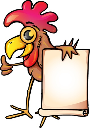 Chicken cartoon with  banner Stock Vector - 17135414