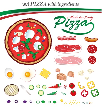 pizza ingredients Vector