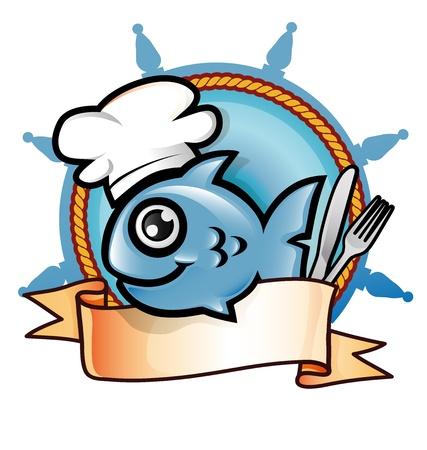 rudder: ristorante di pesce simbolo Vettoriali