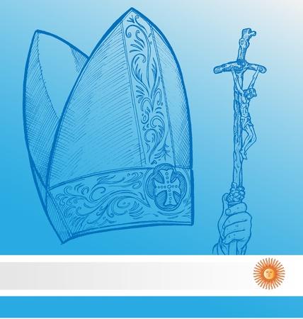 vatican symbolS with argentina flag    Vector
