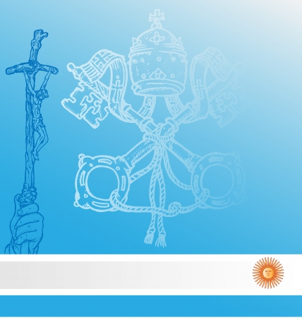 council:   vatican symbolS with argentina flag    Illustration
