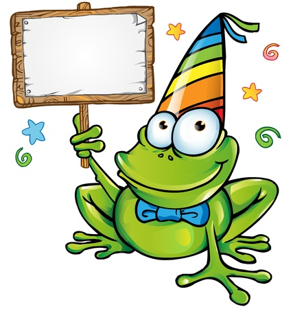 newt:   happy frog party with signboard