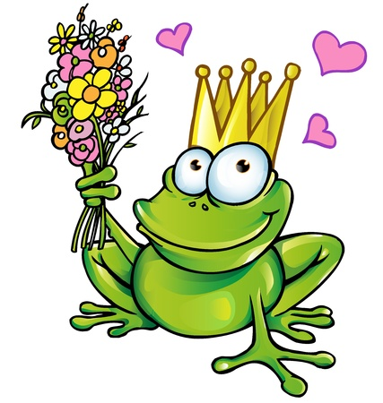 the frog prince: prince frog with bouquet
