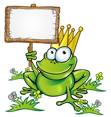 the frog prince: frog prince with signboard Illustration