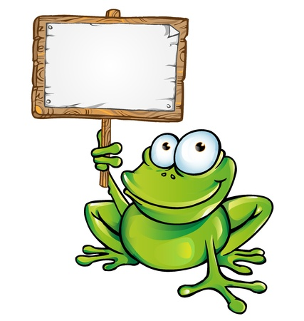 cartoon frog: frog with signboard