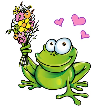newt: frog with bouquet  Illustration