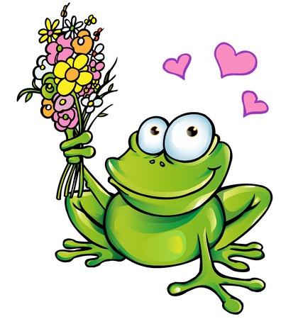 princess frog: rana con bouquet