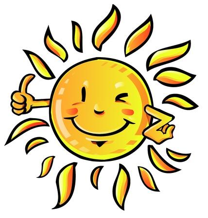 sun cartoon with thumb up
