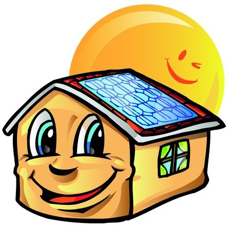 solar panel roof: house cartoon with sun