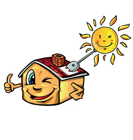 solar roof:  solar house cartoon   Illustration