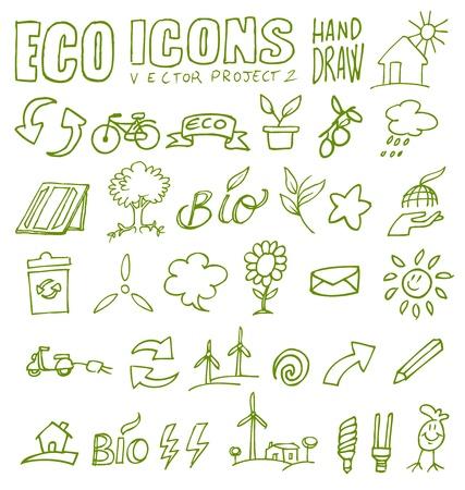 recycling symbols: eco icons hand draw
