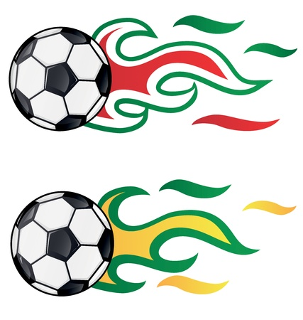 soccer with  flag flame  brasil vs italy Vector