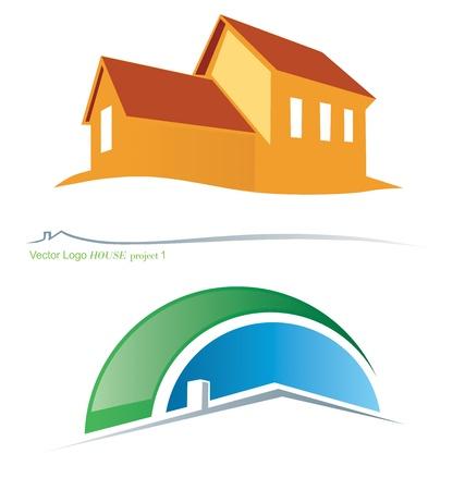 housing project: Dos variantes del vector s�mbolos de la casa 2 Vectores
