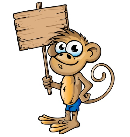 monkey cartoon with signboard Vector