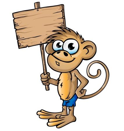 cartel: monkey cartoon with signboard Illustration