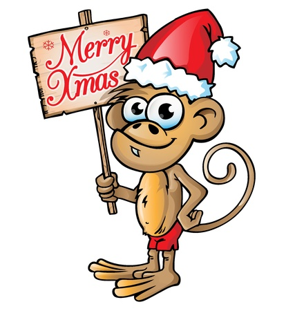 monkey christmas  cartoon with signboard  Vector