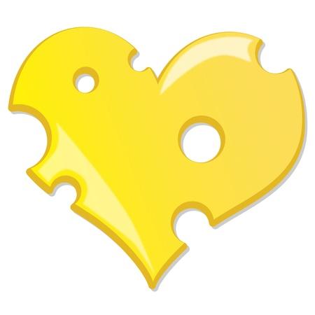 swiss cheese: heart cheese Illustration