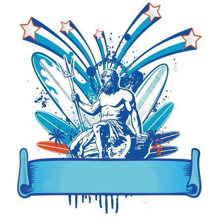 neptuno: poseidon surfista con la bandera