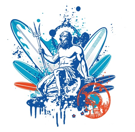 greek gods: poseidon surfer
