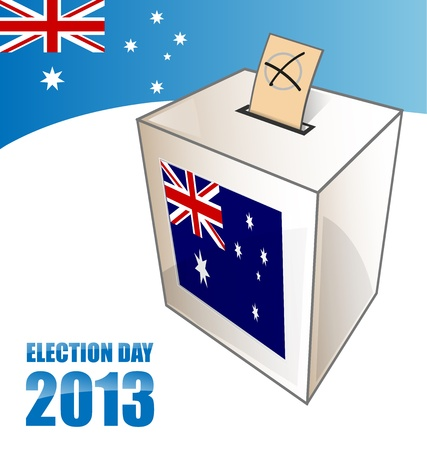 suffrage: australian elecction day background with urn
