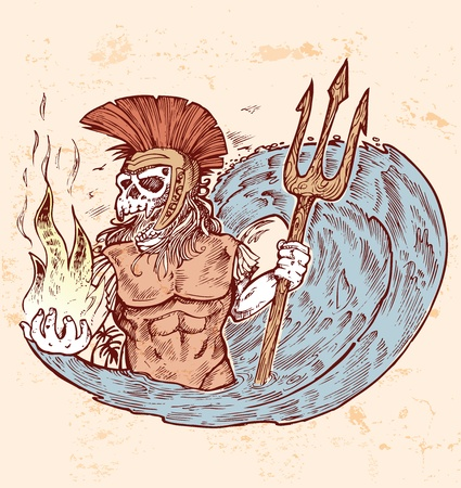 hand draw poseidon death color  Vector