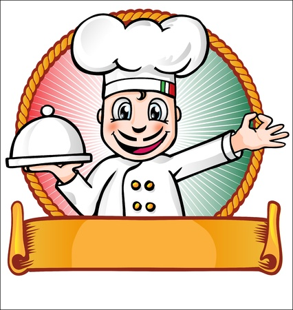 chef with dish Vector